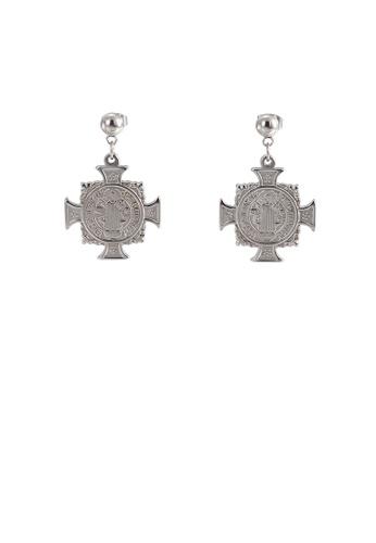 Glamorousky silver Simple Temperament Jesus Cross 316L Stainless Steel Earrings B505BAC49109C1GS_1