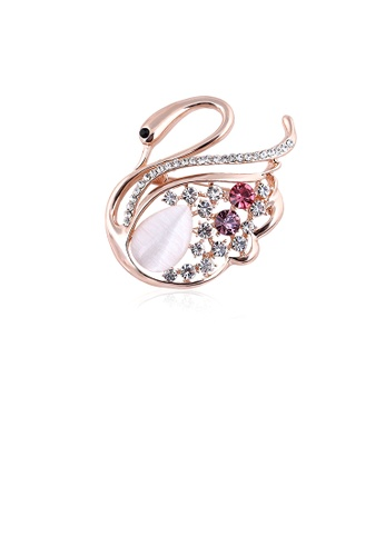 Glamorousky white Fashion and Elegant Plated Rose Gold Swan Opal Brooch with Cubic Zirconia 909F1AC9AA149AGS_1