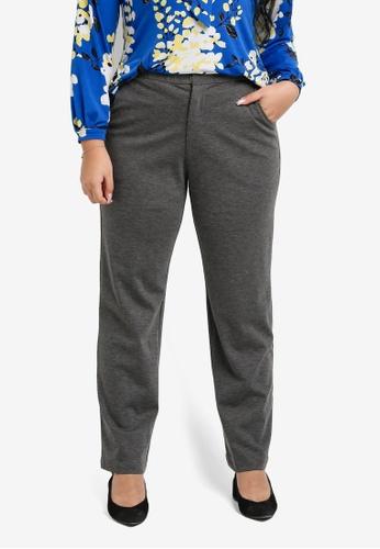 Ex'otico grey Plus Size Basic Trousers EX373AA0SL8TMY_1
