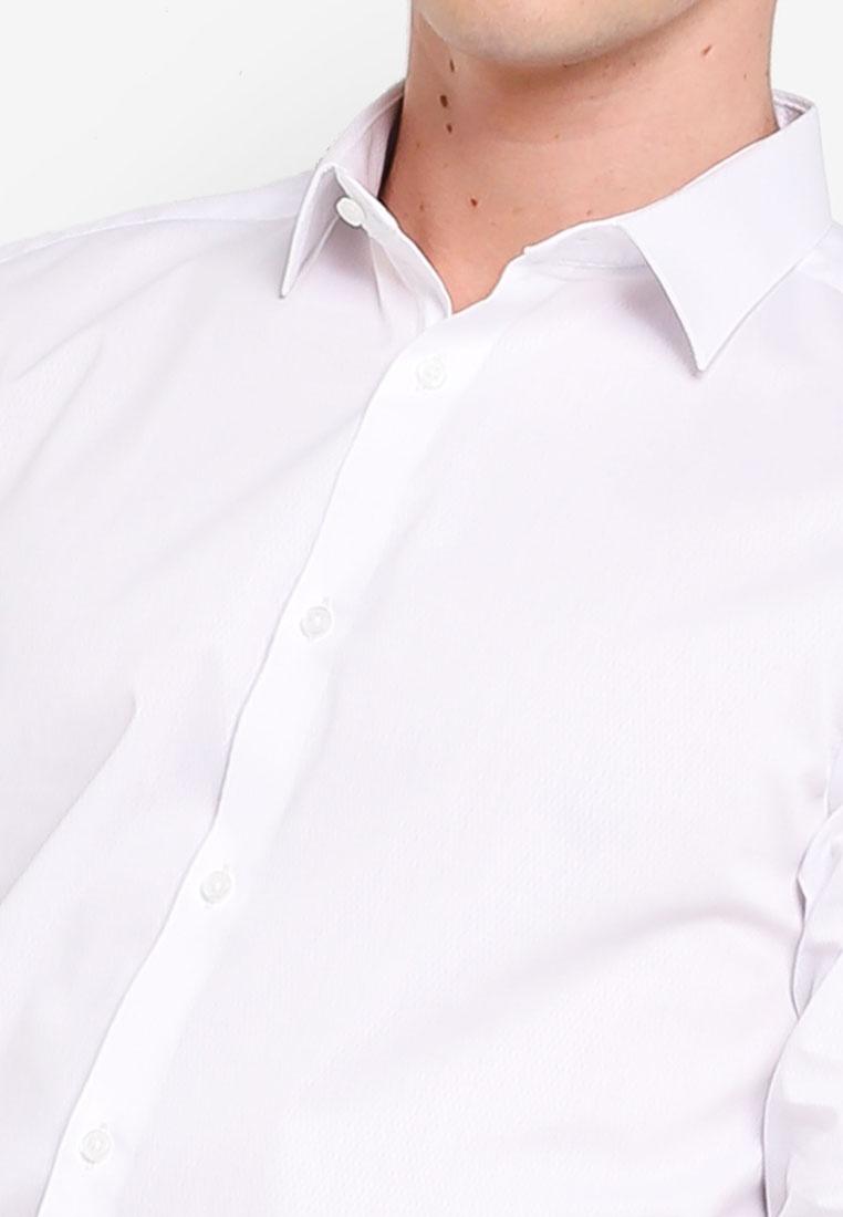 Menswear Slim Fit Textured White London White Stretch Burton Shirt OganZZWY4