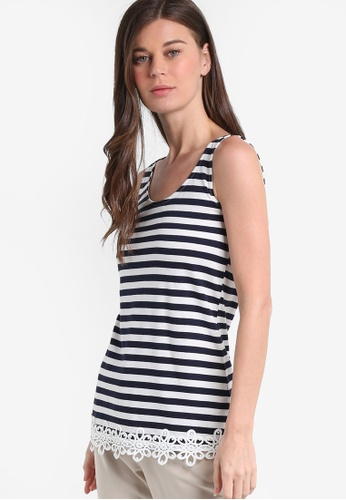 Dorothy Perkins navy Navy/Ivy Stripe Lace Trim Tank DO816AA53RBIMY_1