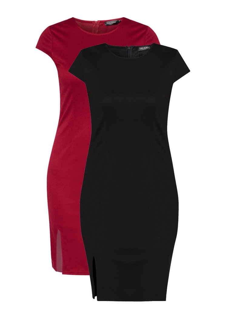 Deep Basic Bodycon ZALORA Slit 2 Red Dress Black Pack Front 4vnqaW8A