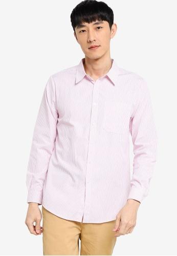 ZALORA BASICS white and pink Regular Fit Stripe Shirt 0EE01AA561A07FGS_1