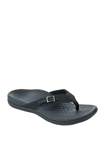 Vionic black Tide Patty Toepost Women's Sandals 051A2SHC24D553GS_1