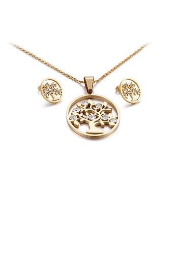 Glamorousky white Fashion and Elegant Plated Gold Tree Of Life Geometric Round 316L Stainless Steel Necklace and Stud Earring Set with Cubic Zirconia EB100ACC9691E6GS_1
