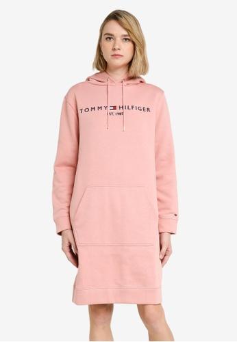 Tommy Hilfiger pink Essential Logo Hoodie Dress FE63BAAF19779FGS_1