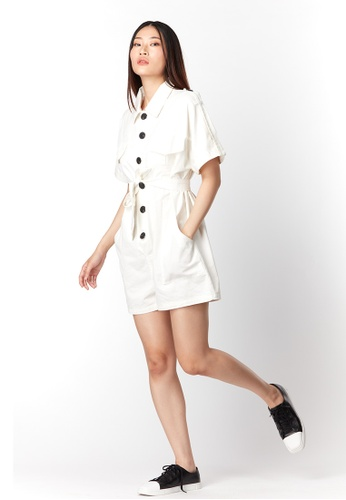 What To Wear white Belted Denim Playsuit in White 9E4C6AA29931EAGS_1