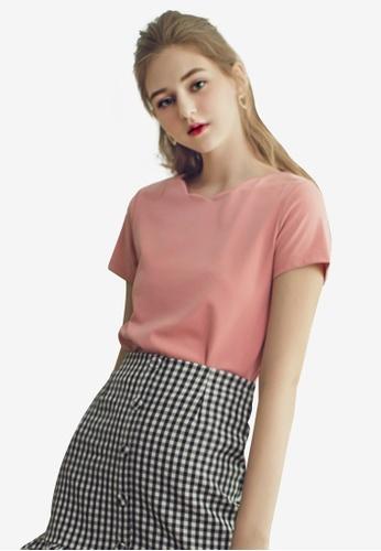 Eyescream pink Scallop Neckline Top 0D9FBAA9441792GS_1