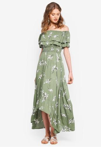 River Island green Green Floral Frill Bardot Maxi Dress CC1F6AAB67C2CFGS_1