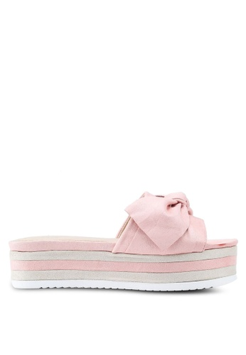 Nose pink Pastel Colour Wedge Heel Slides A072ESH136A0BBGS_1