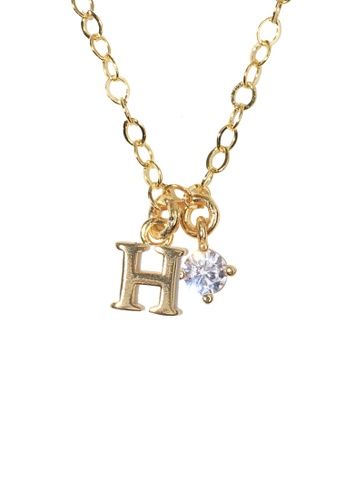 PSYNDROME gold Personalised Initial Letter Alphabet with Cubic Zircona Necklace - H 0B07CAC7095D0EGS_1