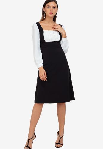 ZALORA WORK multi Square Neck Midi Pinafore Dress 83679AAD43CA76GS_1