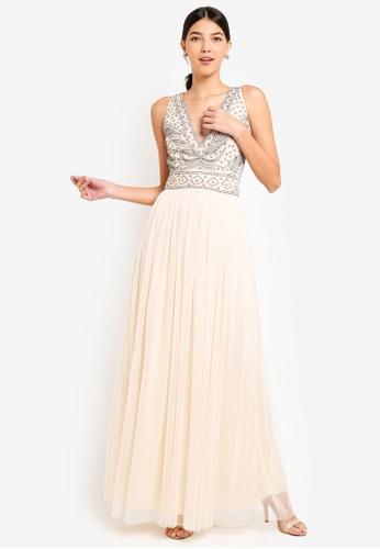 Little Mistress beige V Neck Embellished Dress 7F642AAD050008GS_1