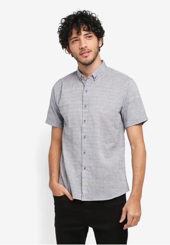 JAXON blue Stripe Short Sleeves Shirt 115FCAA53E630EGS_1