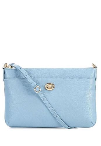 Coach blue COACH Polly Pebble Leather Top Zip Crossbody Bag FC6E0AC8F7EE57GS_1