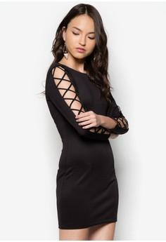 Laced Up Sleeves Bodycon Dress