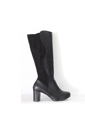 Crystal Korea Fashion black South Korea Splicing Suede Boots CR681SH2WBMGHK_1