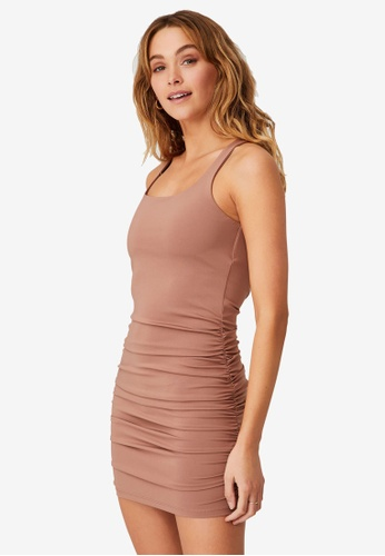 Cotton On brown Day To Night Bodycon Ruched Mini Dress 595B5AA89A0EDDGS_1