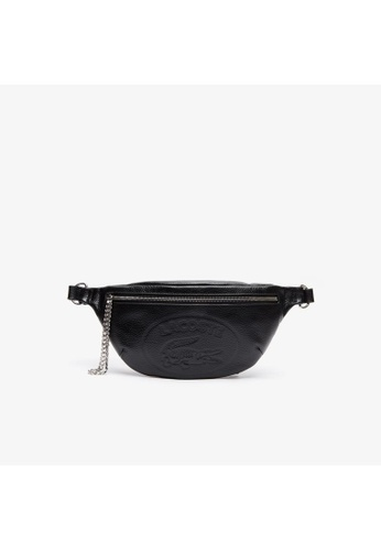 Lacoste black Women's Croco Crew Embossed Logo And Chain Leather Belt Bag 1B5D0AC394D10AGS_1