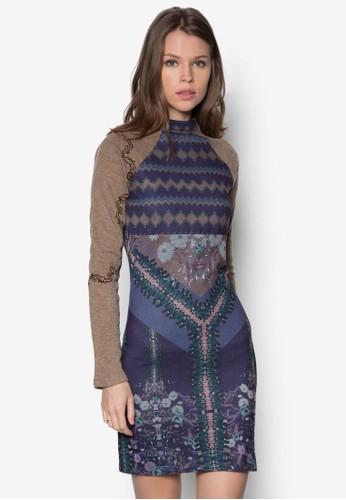 Trisha 拉克蘭拼袖印花連身裙, 服zalora 鞋評價飾, 短洋裝