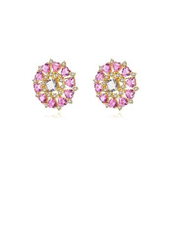 Glamorousky 白色 時尚璀璨鍍金色幾何圓形耳釘配粉色鋯石 1A687AC0861815GS_1