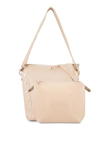 DMK beige Studded Bucket Bag DM860AC10WAVMY_1