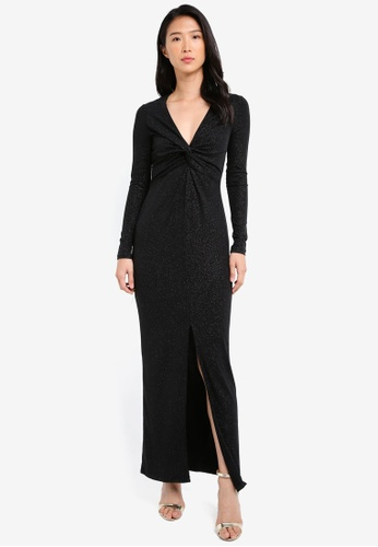 River Island black Knot Front Plunge Maxi Dress RI009AA0SJC7MY_1