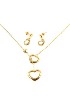 Golden Double Heart Jewelry Set (18k Gold Plated) 20000210