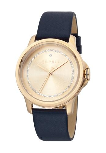 Esprit gold ESPRIT [Bout] 36mm Blue Leather Strap Women Watch [ES1L147L0045] 9FCFDAC9D95BA0GS_1