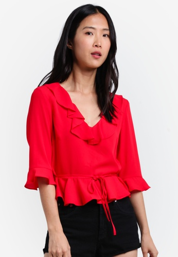 TOPSHOP red Frill Blouse TO412AA0S4HNMY_1