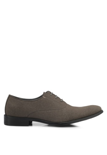 ZALORA grey Faux Suede Leather Oxford Shoes 56EF0SHEF22157GS_1