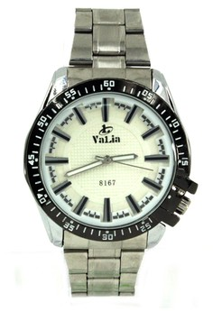 Valia Jordan Unisex White Stainless Steel Strap Watch 8167