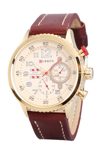curren gold Curren 8179 Men's Leather Strap Watch (Gold) CU537AC26SYVMY_1