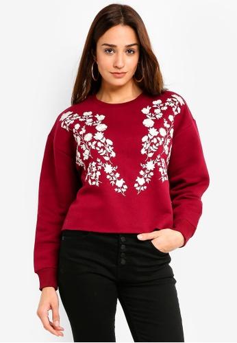 Miss Selfridge 紅色 Embroidered Sweatshirt FEFF0AA3E27DDCGS_1