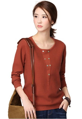 A-IN GIRLS brown Fashion Round Neck Sweater 350D7AA5355C46GS_1