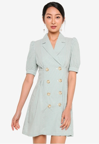 URBAN REVIVO green Double-Breasted Mini Dress 95121AA201ADEFGS_1