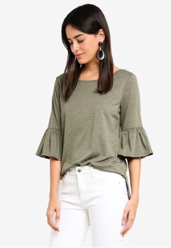 Max Studio green Knit Flare Sleeve Top 06017AACE9F369GS_1