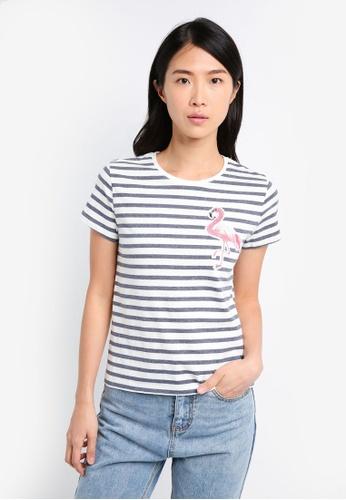 ZALORA white Striped Tee With  Flamingo Embroidery 78777AA4DBD689GS_1