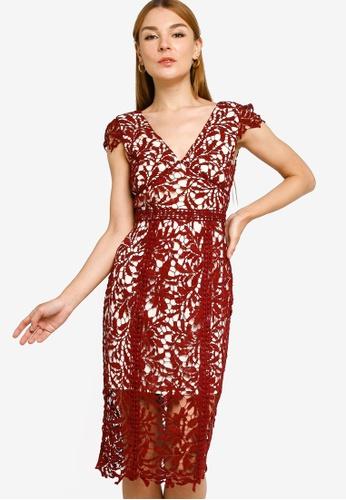 ZALORA OCCASION red Cap Sleeve Lace Midi Sheath Dress AA5BEAA3A5D85BGS_1