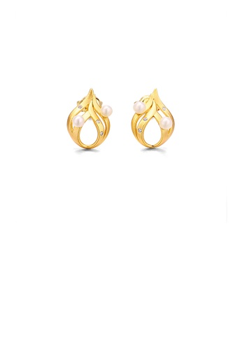 Glamorousky white 925 Sterling Silver Plated Gold Simple Personality Flame Freshwater Pearl Stud Earrings with Cubic Zirconia AAEA5AC7FF8F88GS_1