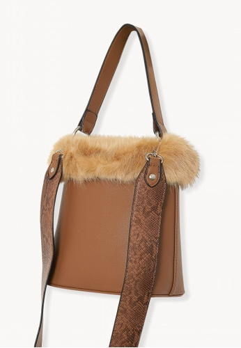 95f9f08aa9 Buy Pomelo Faux Fur Bucket Bag - Brown Online on ZALORA Singapore