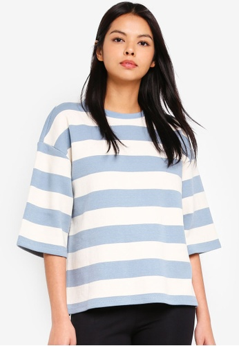 ESPRIT blue Striped Sweatshirt 4F43BAA723AEC9GS_1