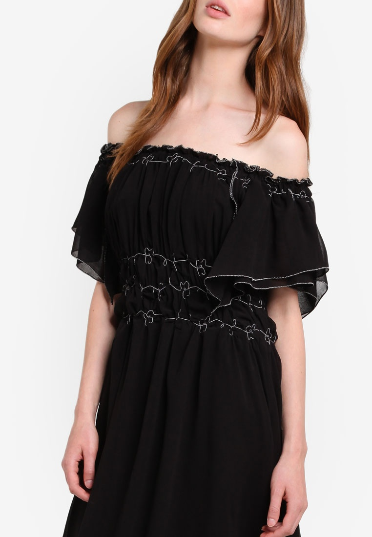Woven Studio Dress Off Flutter Max Black Shoulder awAq8Tazx