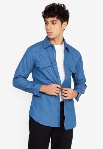 ZALORA BASICS blue Cowboy Shirt 888DFAAFF1AD95GS_1