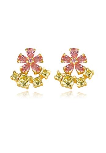 SUNRAIS gold High quality Silver S925 golden flower earrings B02C6ACA4CE1B5GS_1