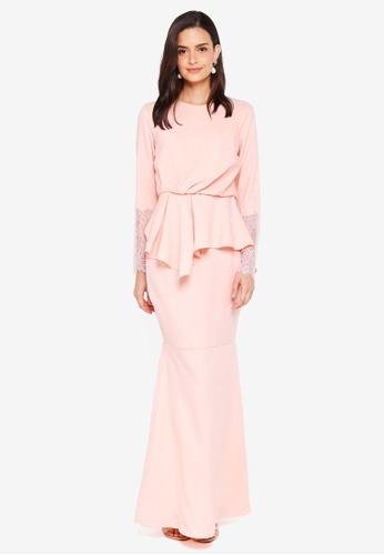 Lubna orange Draped Kurung with Lace Sleeves 489E6AA09DA433GS_1