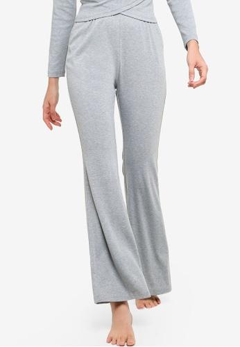 ZALORA BASICS grey Lounge Jersey Flare Trousers FB12DAA6D0F057GS_1