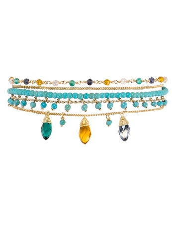 HIPANEMA blue and multi and gold Medium multi chain beaded bracelet Diego turquoise 5561BACD23F5B5GS_1