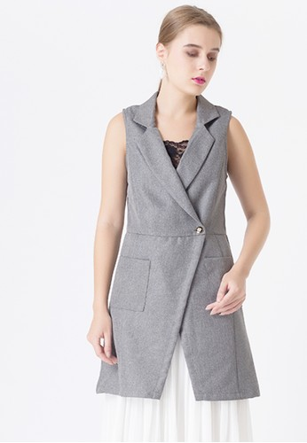 United Concepts grey Crossed Front 'Kimora' Top D3B34AACCEEF56GS_1