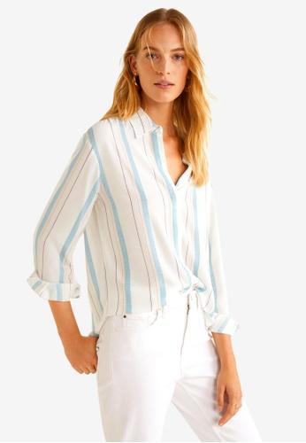 Mango white Metallic Striped Shirt DFB1BAA3F1EAEEGS_1